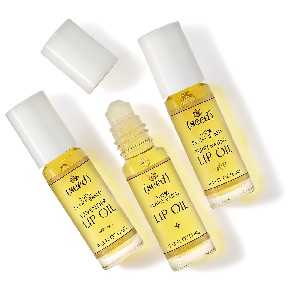 Seed Lip Oil Collection with Fragrance Free, Lavender, and Peppermint Lip Oil