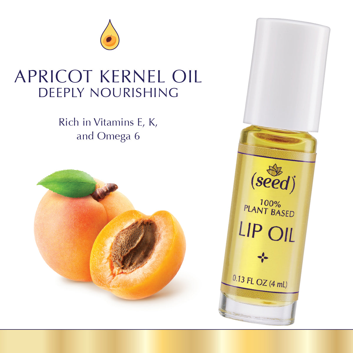Seed Lip Oil features deeply nourishing apricot kernel oil