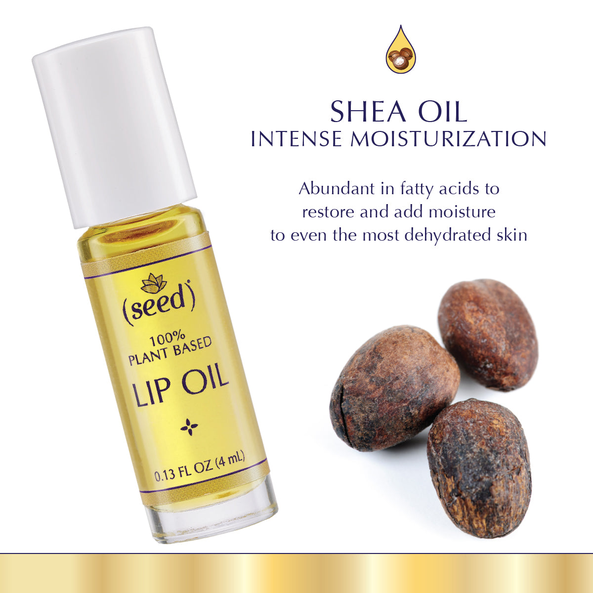 Seed Lip Oil features shea oil for intensive moisturization