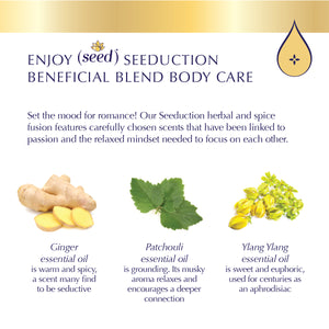 Seed Seeduction Blend Body Care with patchouli, ylang ylang, and ginger essential oils