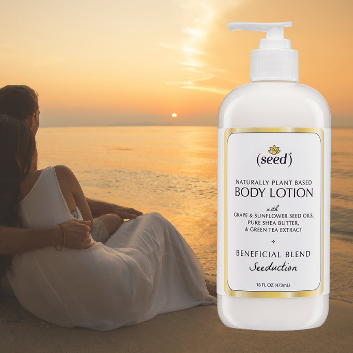 Seed Seeduction Blend Body Lotion features essential oils of ylang ylang, patchouli, and ginger