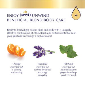 Seed Unwind Beneficial Blend Body Care features Lavender, Patchouli, and Orange essential oils