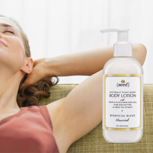 Seed Unwind Blend Body Lotion features essential oils of orange, patchouli, and lavender