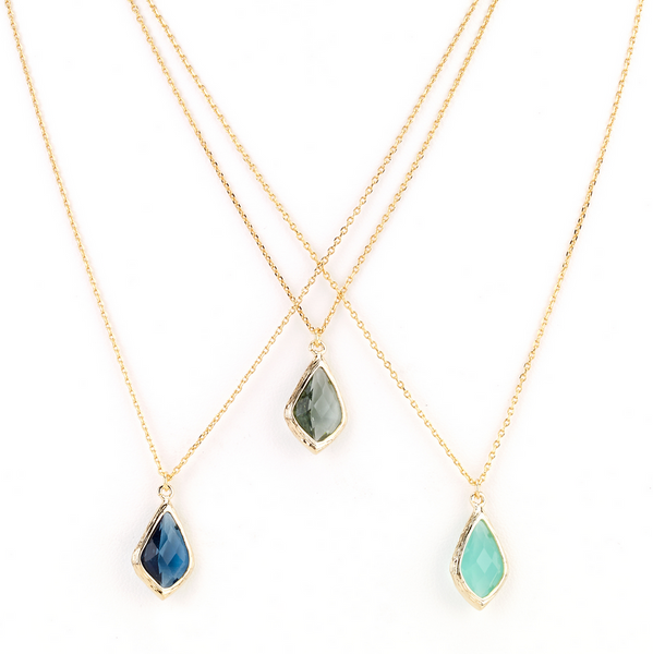 diamond droplet necklaces in blue hues