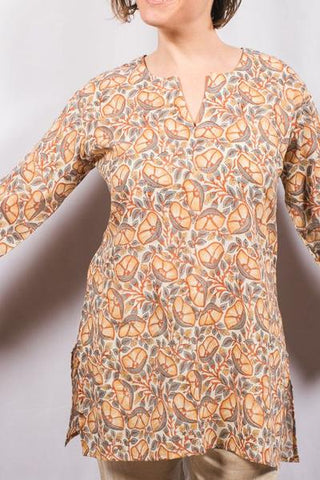 dolma cotton tunic top tanned poppies