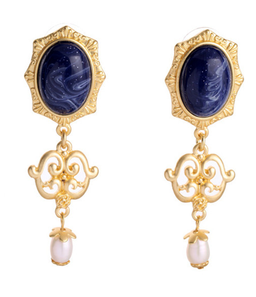 lapis baroque statement earrings