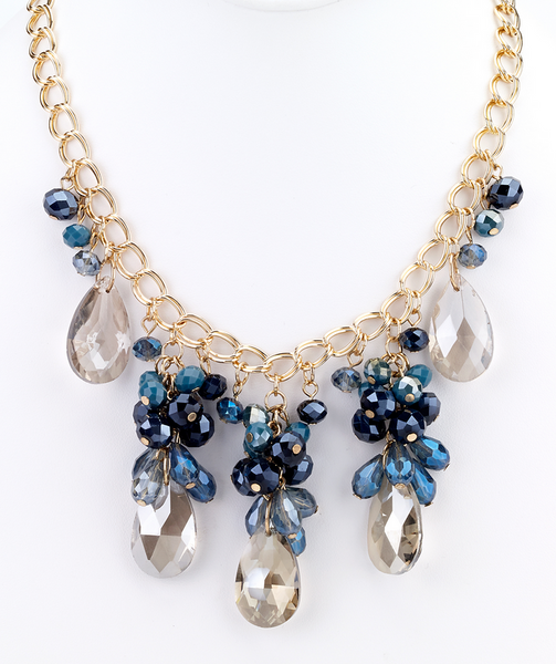 teardrop statement necklace blue