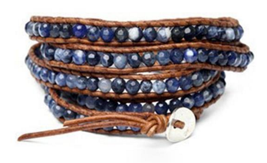 blue wrap leather bracelet