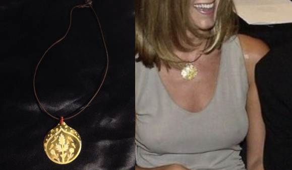 Jennifer Aniston wearing Chan Luu's shell necklace