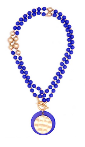 classic blue beaded long necklace