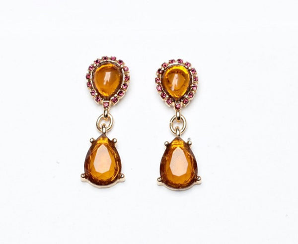 Amber Teardrop Earrings - Girl Intuitive