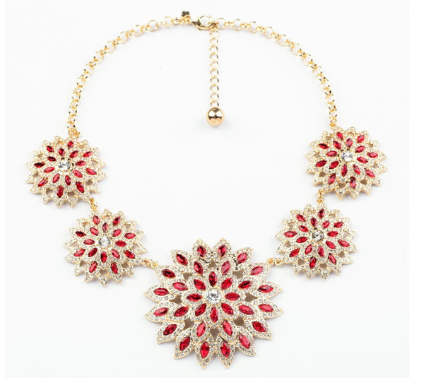 Gold Glam with Red Sparkles Necklace