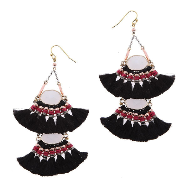 2-Tier Tassel and Stone Drop Earrings black