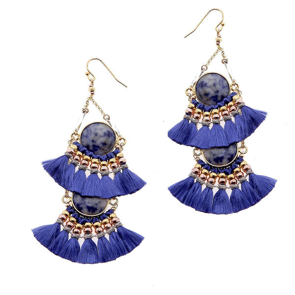 2-Tier Tassel and Stone Drop Earrings blue