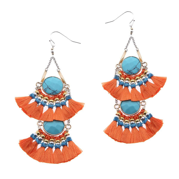 2-Tier Tassel and Stone Drop Earrings orange
