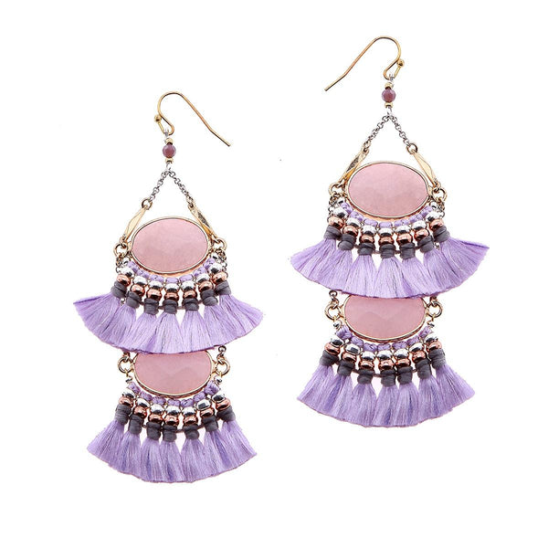 2-Tier Tassel and Stone Drop Earrings purple