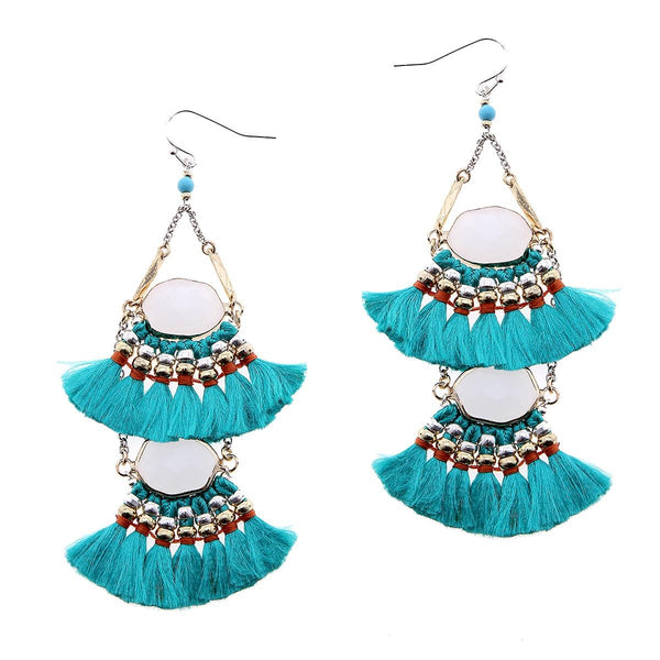2-Tier Tassel and Stone Drop Earrings turquoise