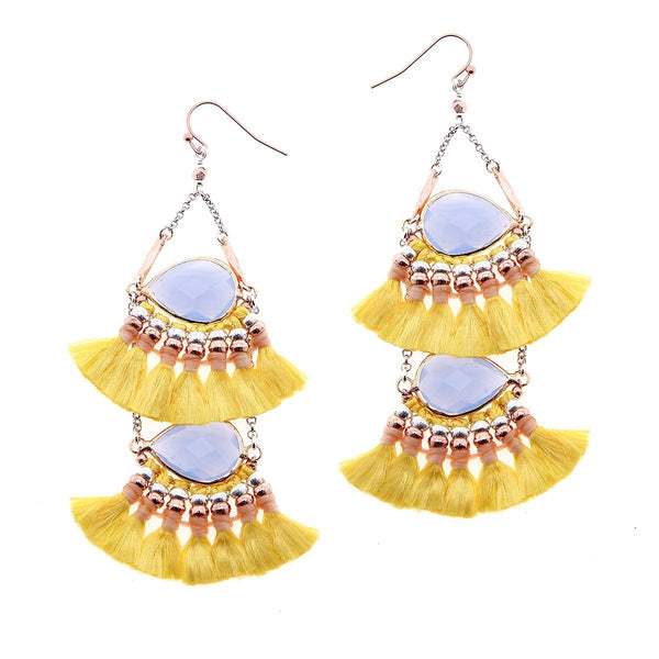 2-Tier Tassel and Stone Drop Earrings yellow