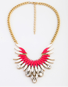 Feathered Neon Pink Necklace