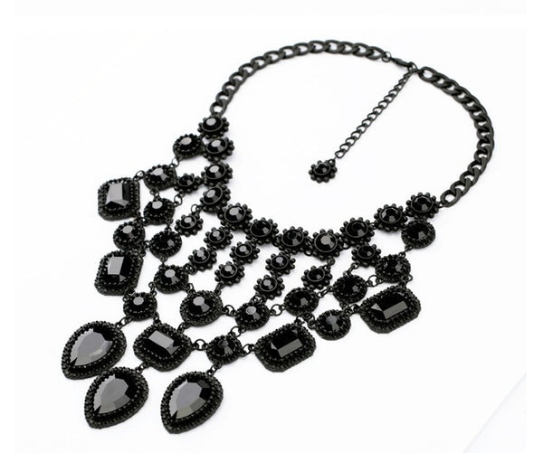 Black Gem Statement Necklace - Girl Intuitive