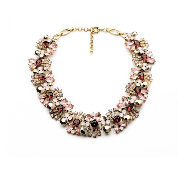 Pink Sparkling Water Collar Statement Necklace