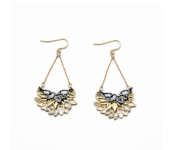 Black and Gold Foliage Dangle Earrings - Girl Intuitive