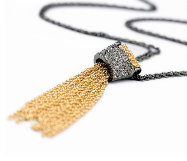 Golden Tassel Long Necklace