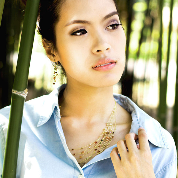 Akha necklace on model