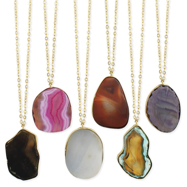 Agate Pendant Long Necklace - Girl Intuitive