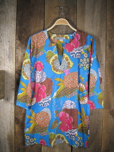 Cotton Tunic Top Mums on Blue