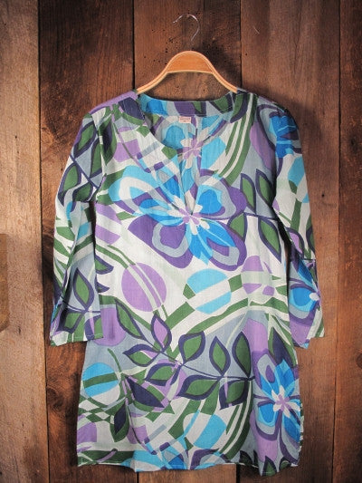 Tunic in Blue, Lilac, and Green
