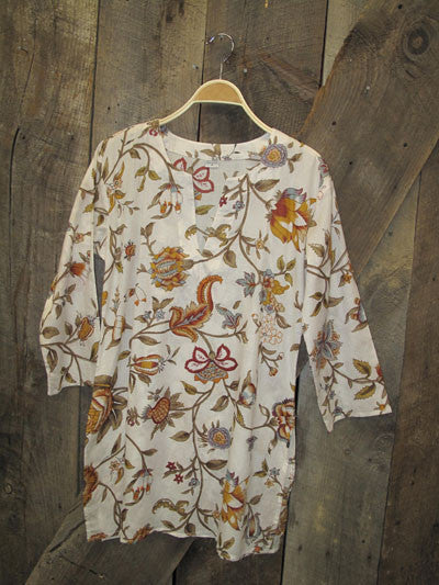 Tunic - Fall Leaves on White