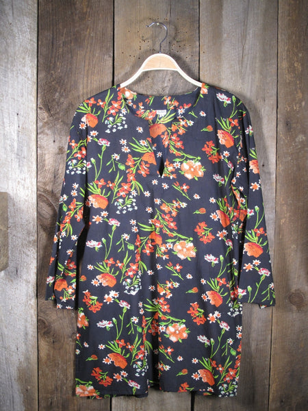 Tunic Black with Red Flowers