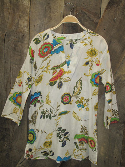 Tunic Colorful Floral on White