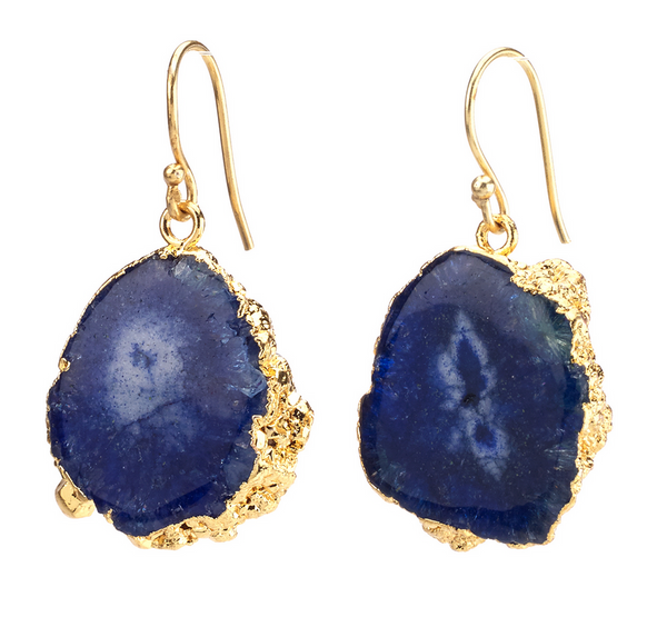 Agate Dangling Earrings - Blue - Girl Intuitive