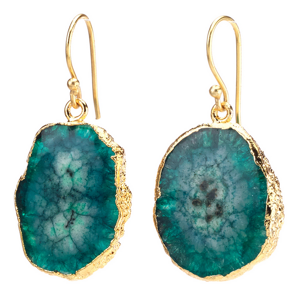 Agate Dangling Earrings - Green - Girl Intuitive