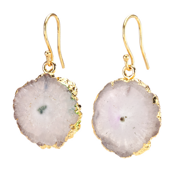 Agate Dangling Earrings - White - Girl Intuitive