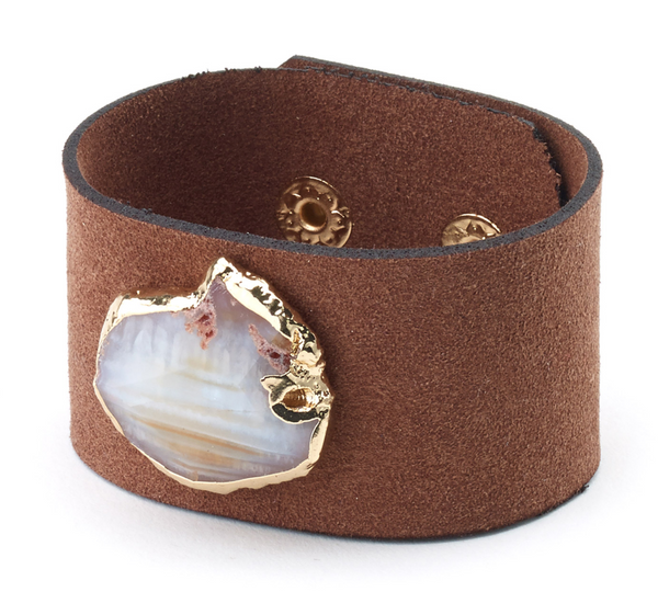 Agate Stone Suede Bracelet brown