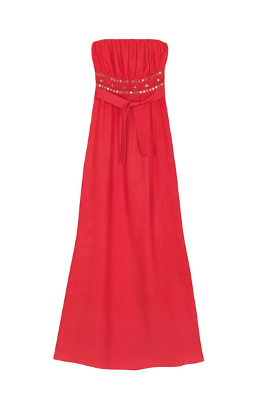 Amenapih Festive Red Strapless Maxi Dress