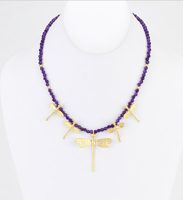 Amethyst Dragonfly Necklace - Girl Intuitive