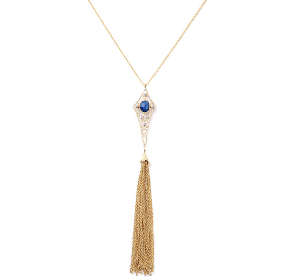 Angel Hair Tassel Long Necklace in Gold - Girl Intuitive