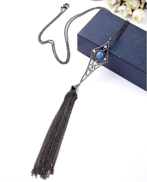 Angel Hair Tassel Long Necklace in Hematite - Girl Intuitive