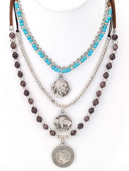 Antique Coins Layered Necklace - Buffalo