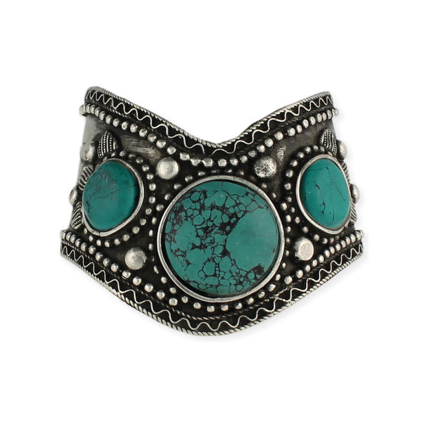 Antique Silver & Turquoise Cuff - Girl Intuitive