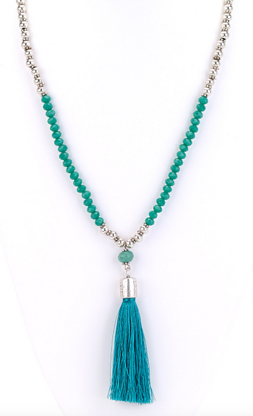 Aqua Tassel Long Beaded Necklace