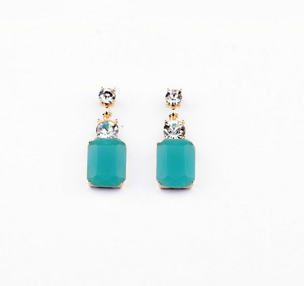 Aqua Crystal Small Drop Earrings