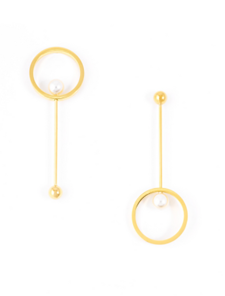 Asymmetrical Pearl Circle Earrings