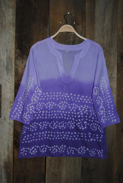 Bandhani Tunic Top Purple