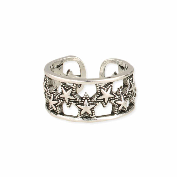 Ring - Band of Stars Silver Adjustable Ring - Girl Intuitive - zad -