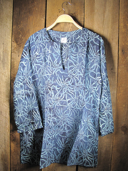 Batik Tunic with Teal Corals